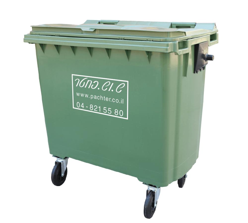 פח אשפה 660 ליטר - פח זבל ירוק