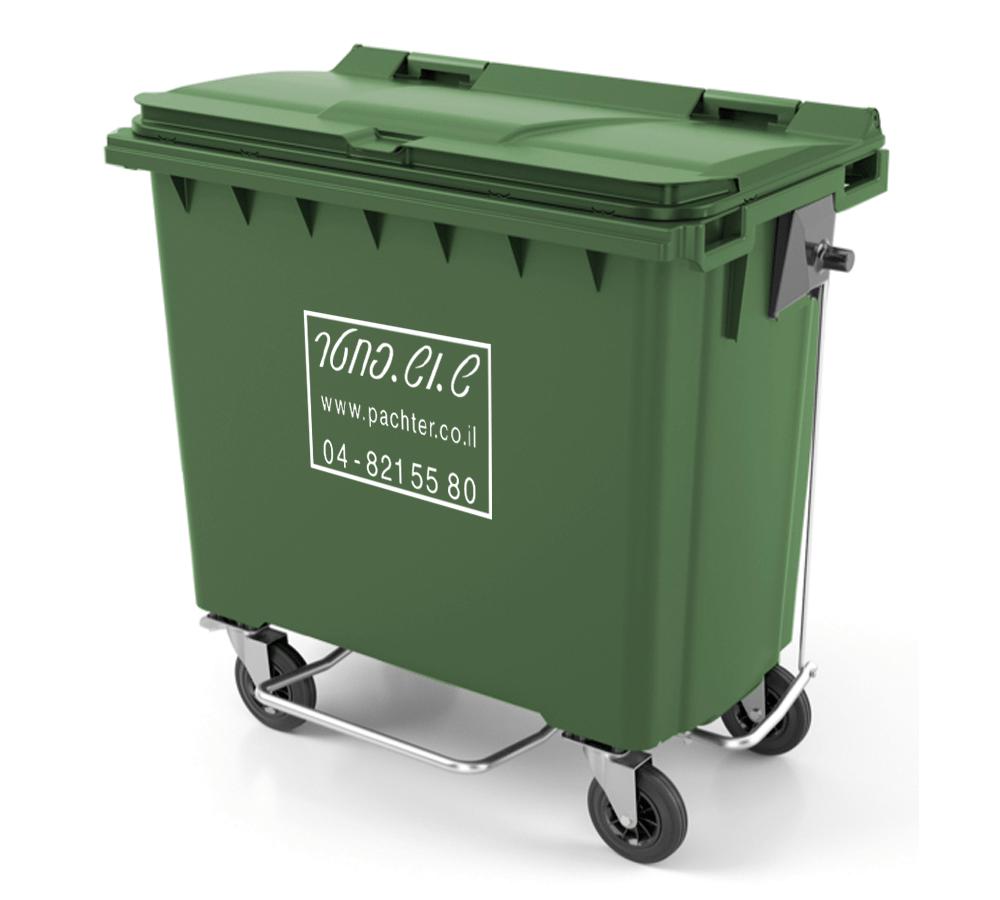 פח אשפה 770 ליטר עם רגלית פתיחה פח זבל ירוק גדול